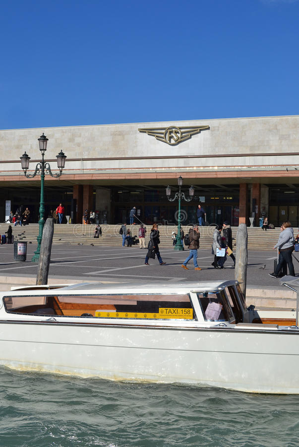Venice train station and taxi stock photo
