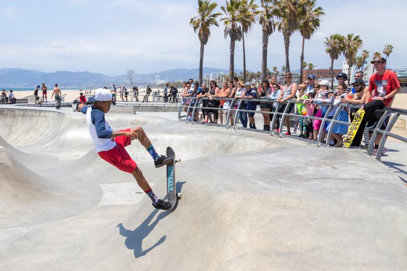 VENICE, UNITED STATES - MAY 21, 2015: Ocean Front Walk at Venice Beach, Skatepark , California. Venice Beach is one of royalty free stock images