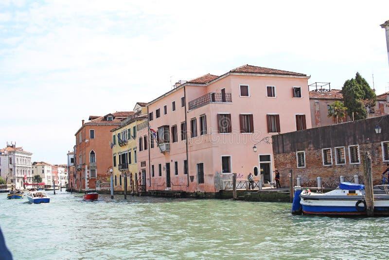 Venice Venezia Italy 2019 march city view from ship. Renaissance Buildings in sea stock image