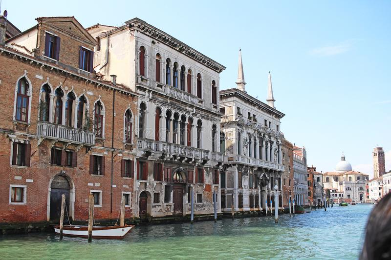 Venice Venezia Italy 2019 march city view from ship. Renaissance Buildings in sea royalty free stock image