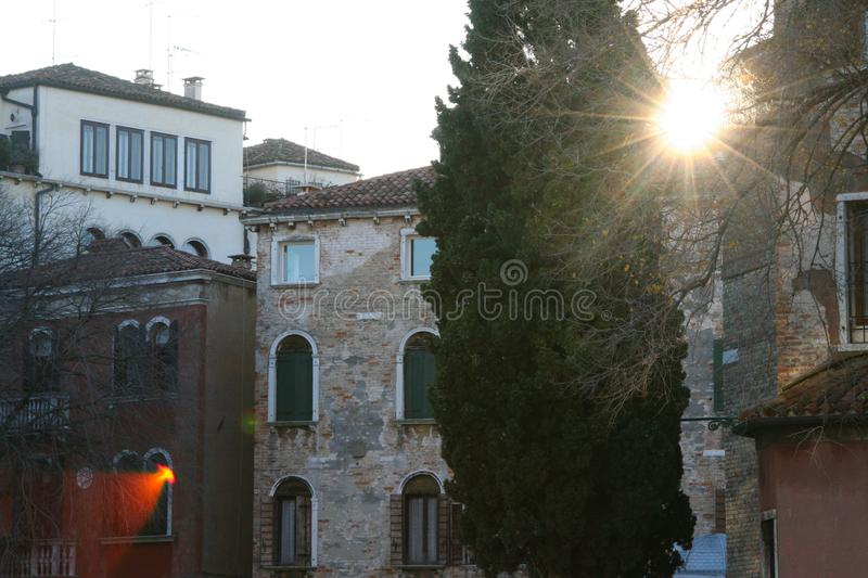 Venice, view of `Campo san Polo`. In the morning light, with reflections of the sun royalty free stock photography