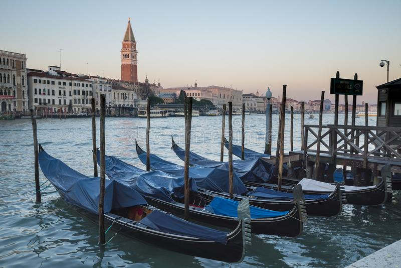 Venice, view of the grand canal with gondola stock images
