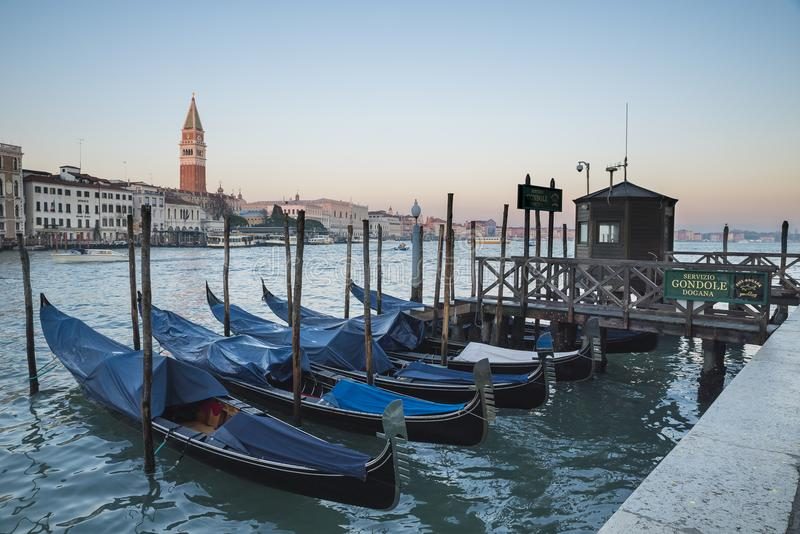 Venice, view of the grand canal with gondola stock image
