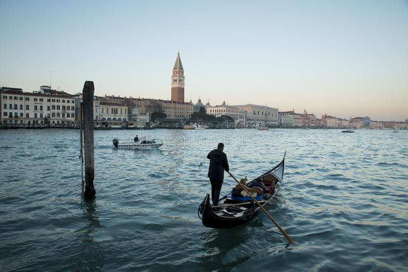 Venice, view of the grand canal with gondola royalty free stock photography