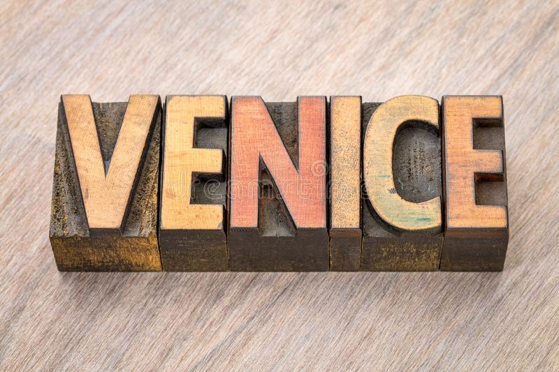 Venice word abstract in wood type royalty free stock photography