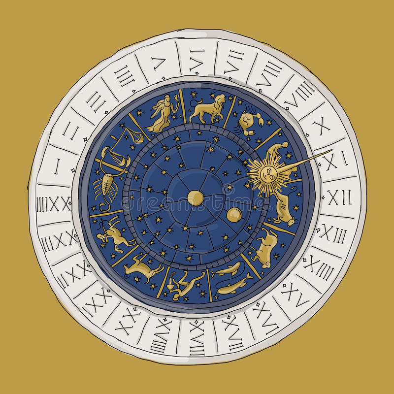 Venice zodiac clock, sketch for your design royalty free illustration