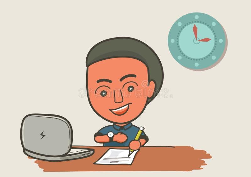 Venido trabajar el tiempo ilustración del vector
