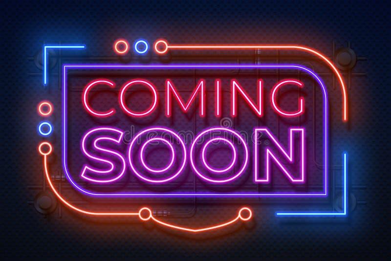 Venir au néon bientôt signe Le film annoncent l'insigne, élément rougeoyant de nouvelle promotion de magasin, bannière de lampe a illustration de vecteur