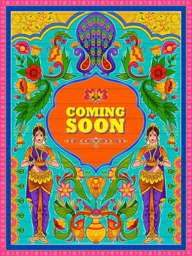 Venir coloré bientôt bannière dans le style de kitsch d'art de camion de l'Inde illustration libre de droits