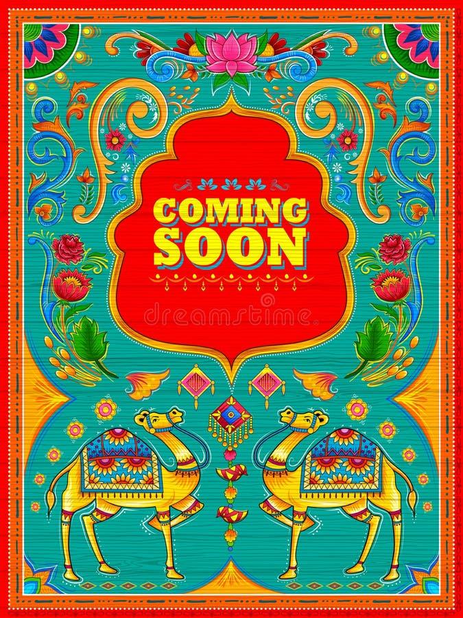 Venir coloré bientôt bannière dans le style de kitsch d'art de camion de l'Inde illustration stock