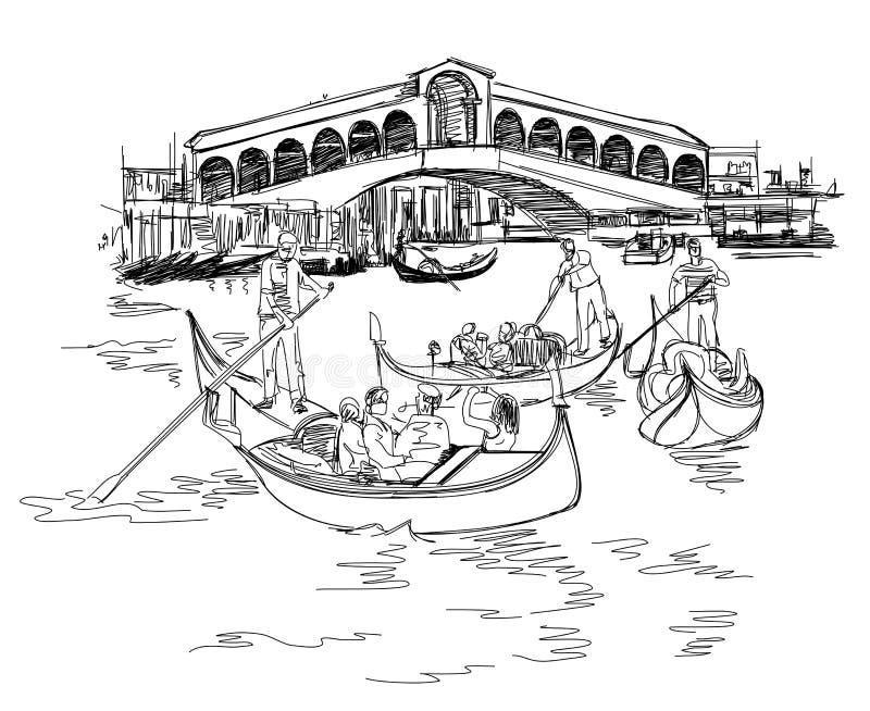 Venise - canal grand Vue de la passerelle de Rialto illustration de vecteur