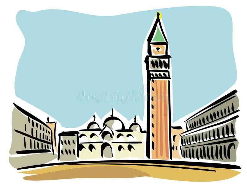 Venise (le grand dos du repère de rue) illustration de vecteur