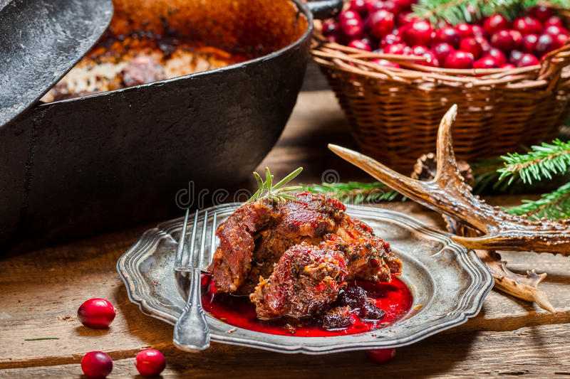 Venison with cranberry sauce and rosemary straight from the fore royalty free stock photos