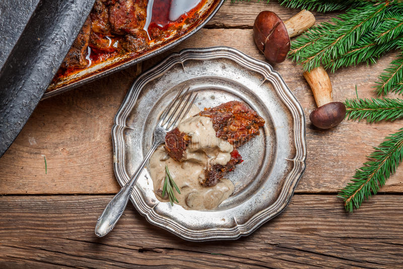 Venison prepared in a forest way stock photos