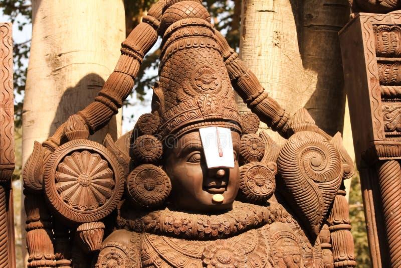 Venkateswara, Tirupati Balaji阁下木神象  库存照片