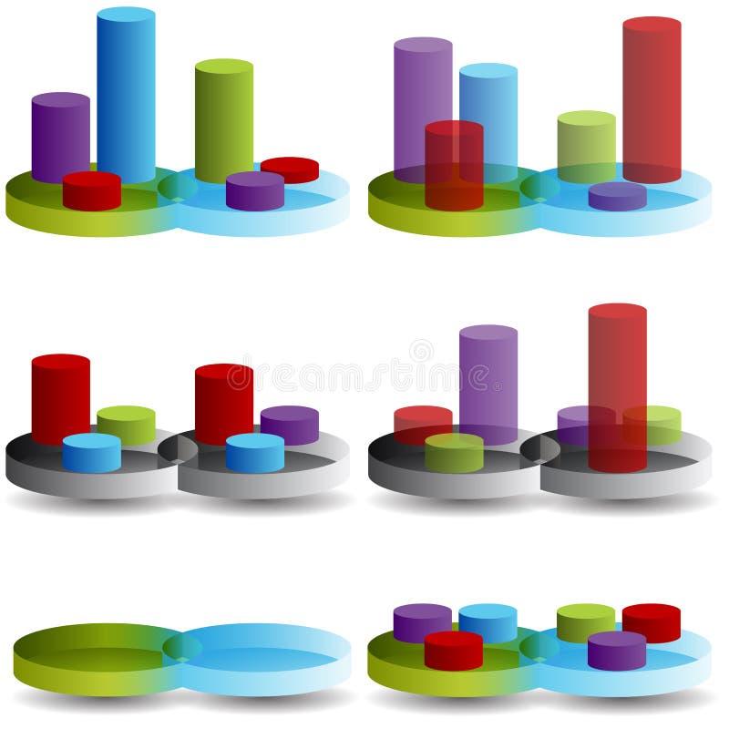 Venn Column Chart Royalty Free Stock Image
