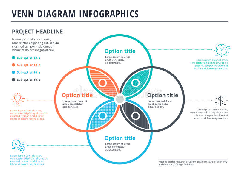 Unusual 4 circle template photos example resume templates venn diagram with 4 circles infographics template design vector ccuart Choice Image