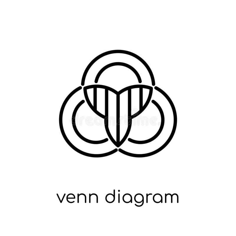 Venn diagram icon. Trendy modern flat linear vector Venn diagram royalty free illustration