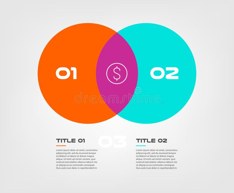 Venn diagram infographics for two circle design vector and marketing can be used for workflow layout, annual report, web royalty free illustration