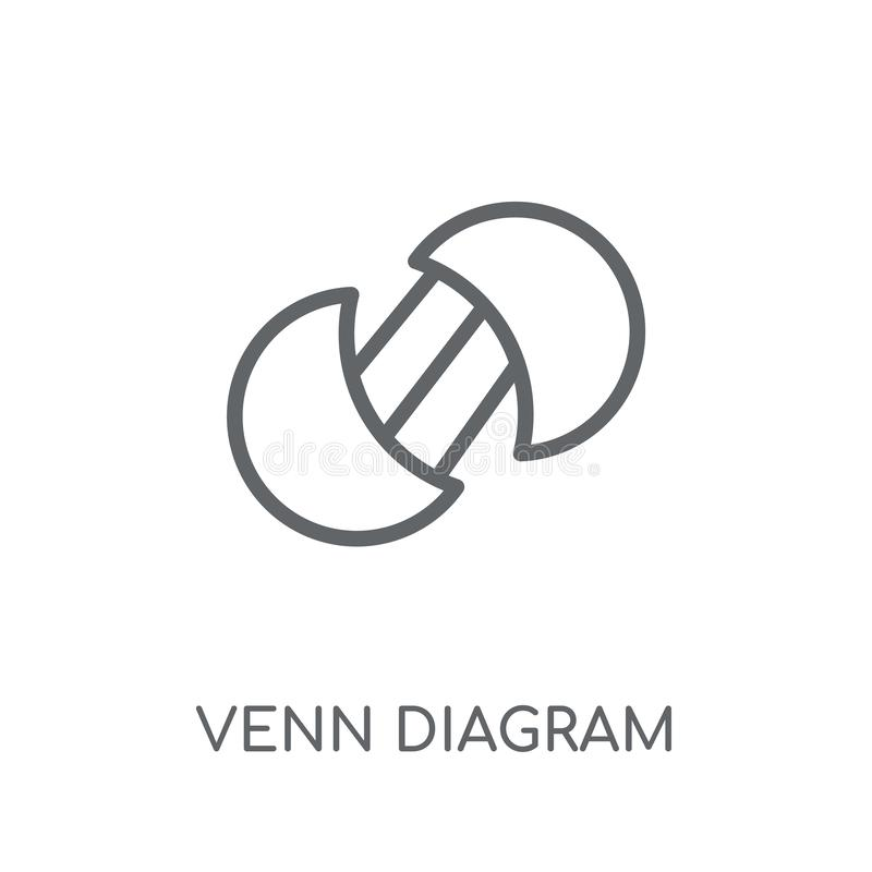 Venn diagrama liniowa ikona Nowożytny konturu Venn diagrama logo conce ilustracji
