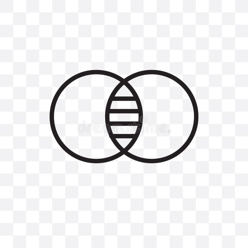 Venn diagrama wektorowa liniowa ikona odizolowywająca na przejrzystym tle, Venn diagrama przezroczystości pojęcie może używać dla ilustracja wektor