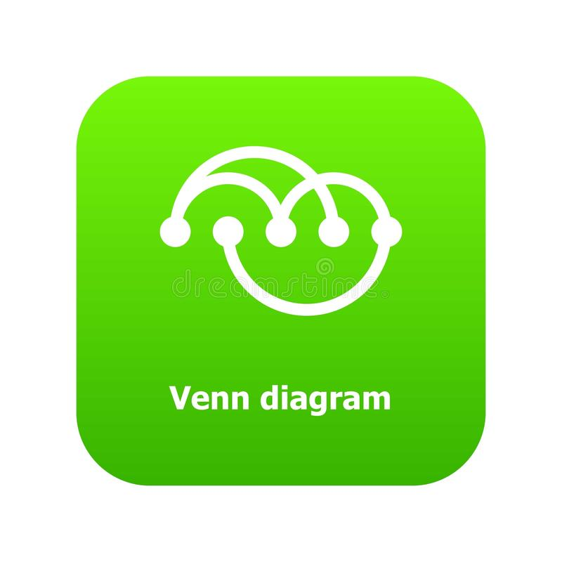 Venn diagramm icon green vector. Isolated on white background royalty free illustration