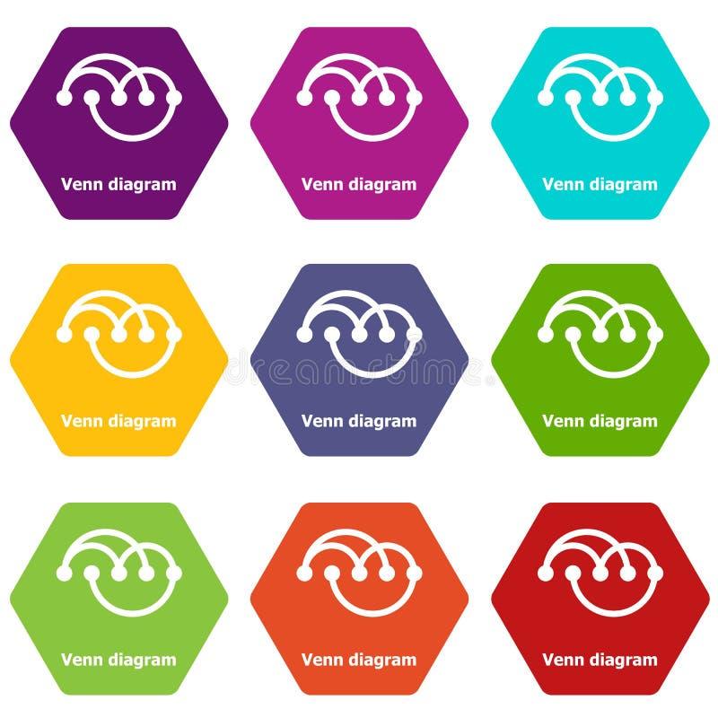 Venn diagramm icons set 9 vector. Venn diagramm icons 9 set coloful isolated on white for web stock illustration