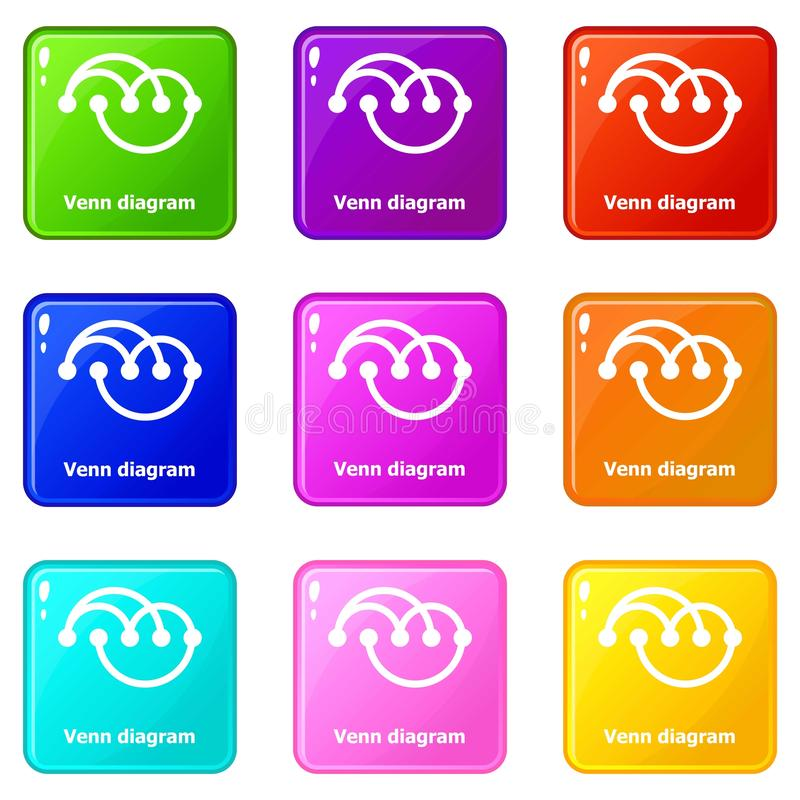 Venn diagramm icons set 9 color collection. Isolated on white for any design stock illustration