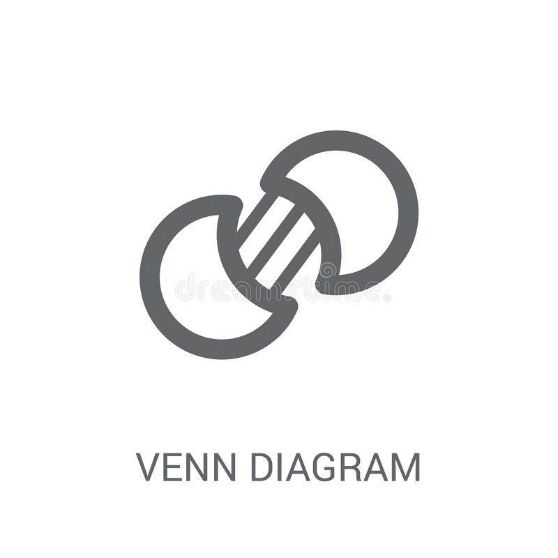 Venn-diagrampictogram Het in concept van het Venn-diagramembleem op witte bac royalty-vrije illustratie