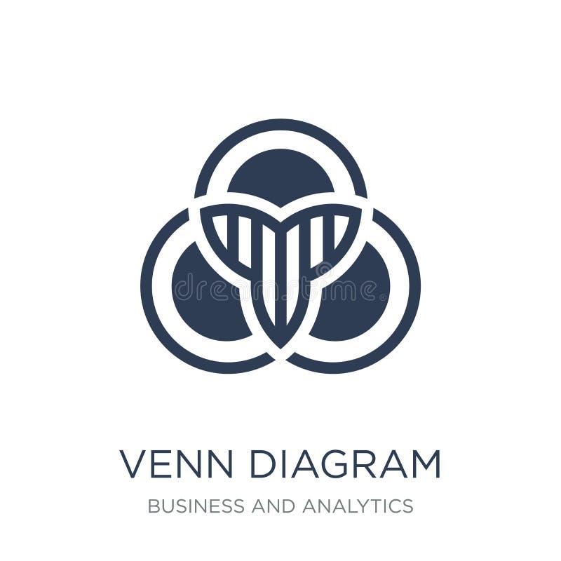 Venn-diagrampictogram In vlak vectorvenn-diagrampictogram op wit royalty-vrije illustratie