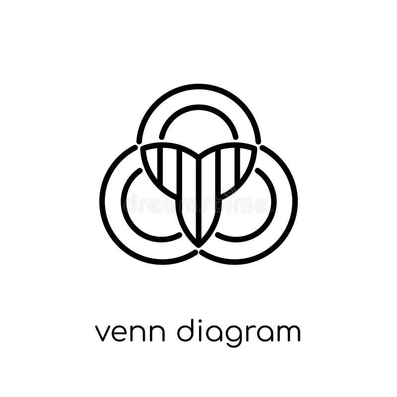 Venn diagramsymbol Moderiktigt modernt plant linjärt vektorVenn diagram royaltyfri illustrationer