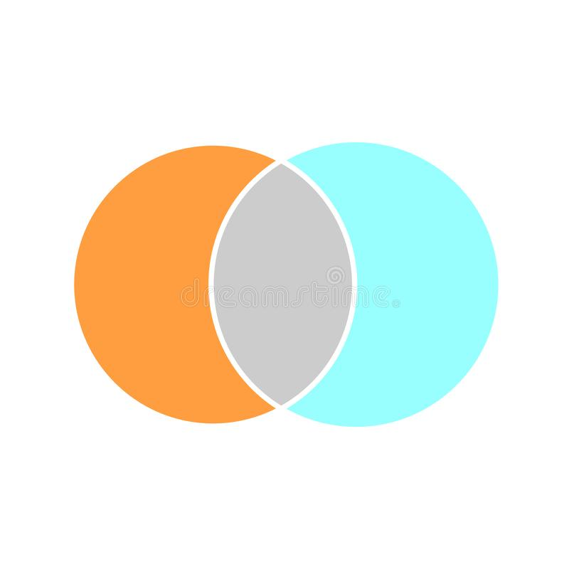 Venn maths vector diagram, color modern icon - white background stock illustration