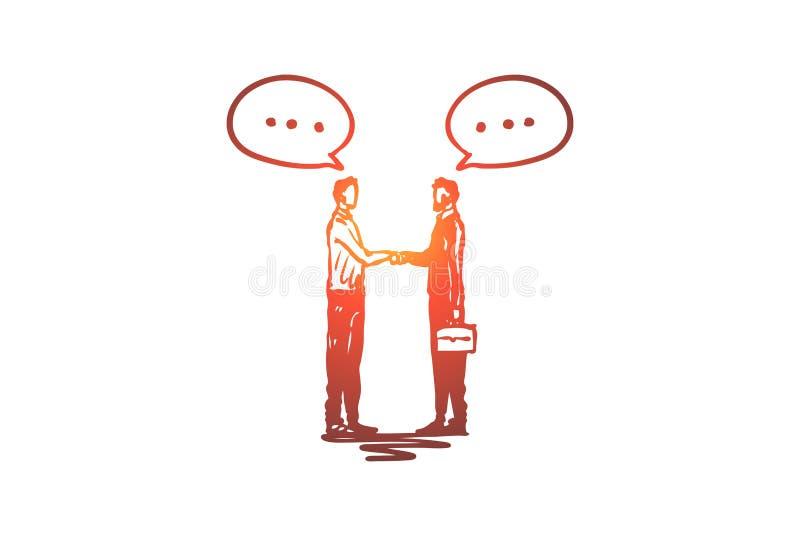 Vennootschap, zaken, mensen, succes, handdrukconcept Hand getrokken geïsoleerde vector vector illustratie
