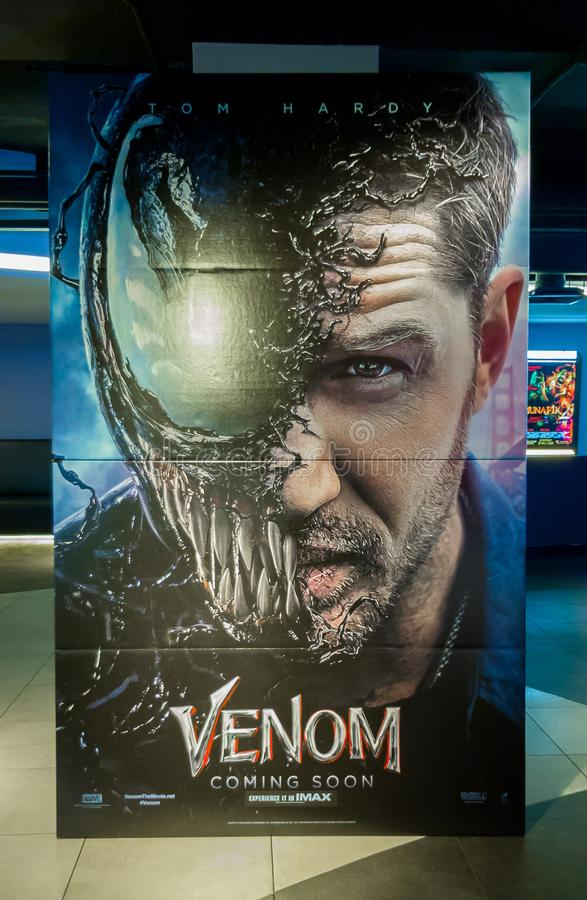 Venom. KUALA LUMPUR, MALAYSIA - SEPTEMBER 5, 2018: Venom movie poster, this movie is about Eddie Brock acquires the powers of a symbiote, and become Venom royalty free stock images