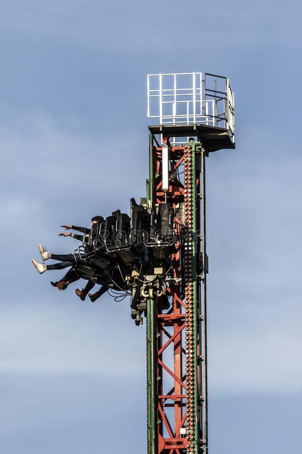 The Venom Tower Drop Ride at the West Midlands Safari and theme park in Bewdley, Hereford and Worcester, England. BEWDLEY, UK - FEBRUARY 21, 2019: The Venom stock photography