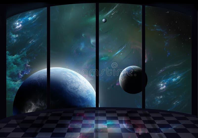 Venster aan de ruimte stock illustratie