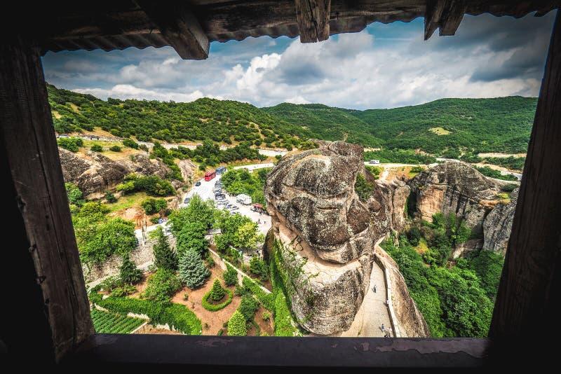Venster aan Meteora De artistieke interpretatie van een venster aan gaat stock foto's