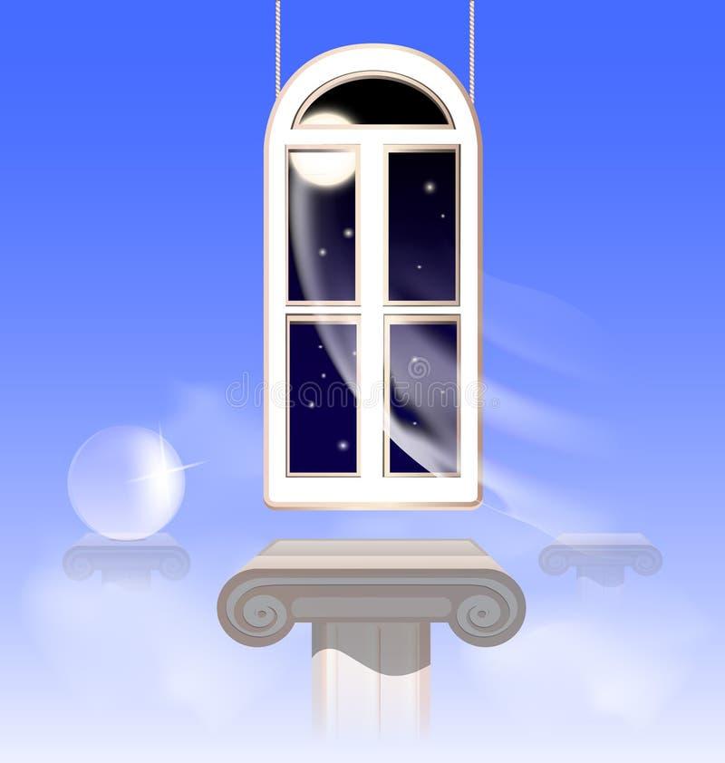 venster in de nightly hemel stock illustratie