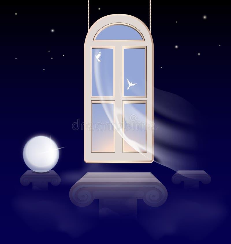 venster in de ochtendhemel royalty-vrije illustratie