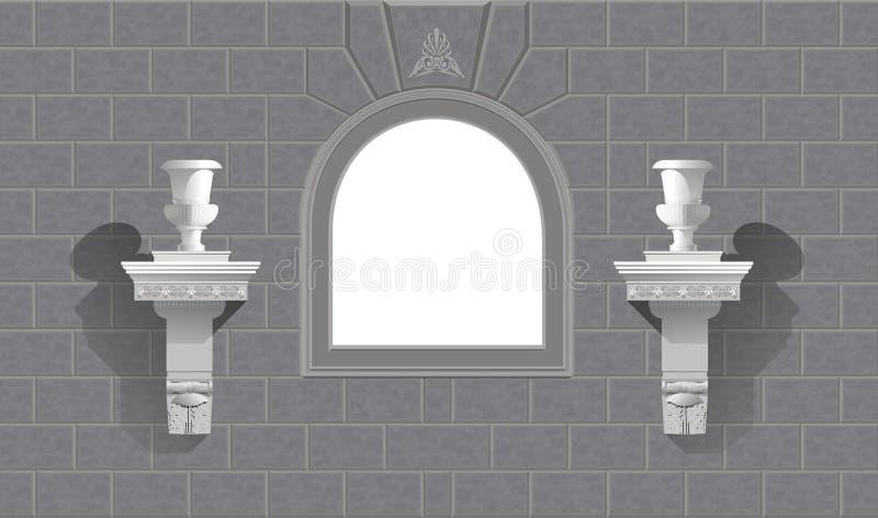 Venster in een steenmuur met bloempotten vector illustratie