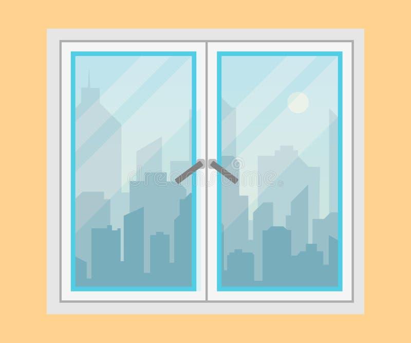 Venster en stadsmening De horizonsilhouet van de ochtendstad Modern stedelijk landschap Cityscape achtergronden Vlakke stijlvecto vector illustratie