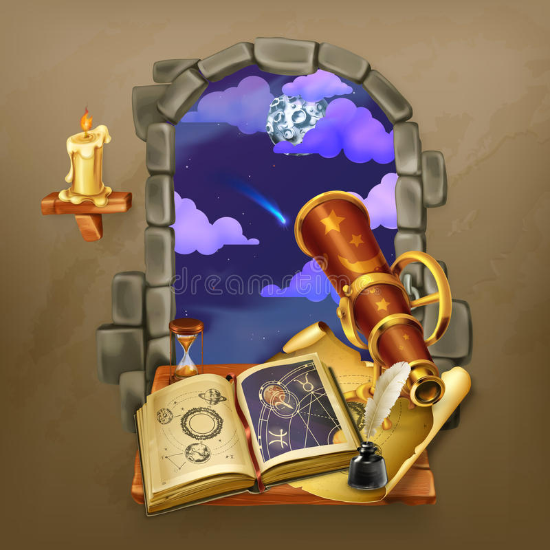 Venster in het kasteel vector illustratie
