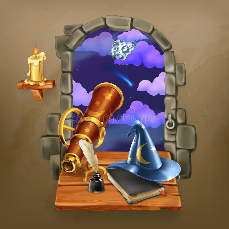Venster in het kasteel royalty-vrije illustratie