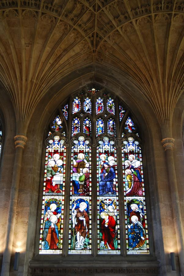 Venster, Kathedraal, Peterborough. stock fotografie