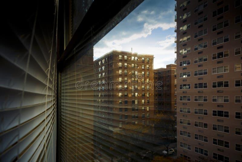 Venster met blinde bezinning en gouden zonlicht onder gebouwen royalty-vrije stock afbeeldingen