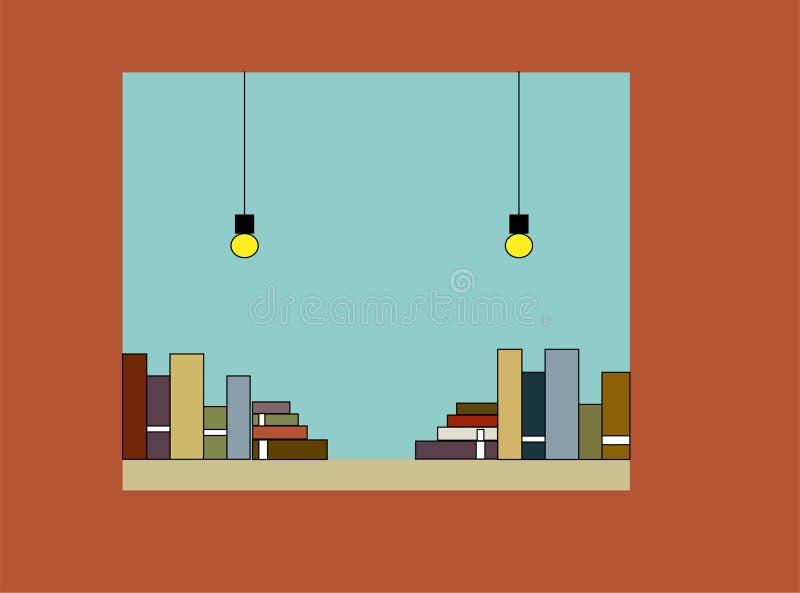 Venster met boeken, een deel van een boekhandel en bibliotheek stock illustratie