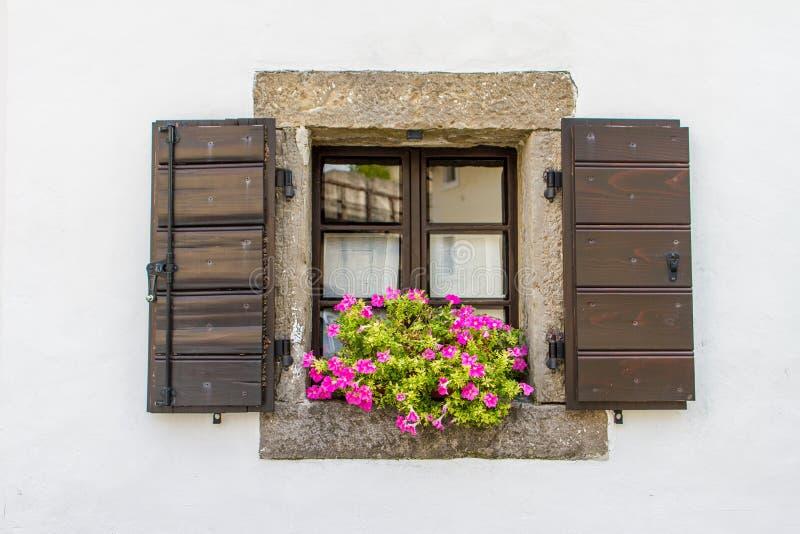 Venster met open bloemen stock afbeeldingen