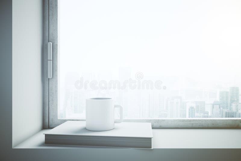 Venster met wit koffiekop en boek stock illustratie
