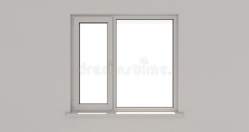 Venster muur Aluminiumvenster Wit venster Pvc-venster royalty-vrije illustratie