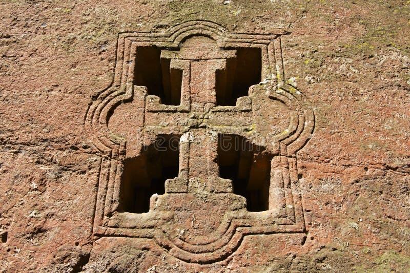 Venster van de rots-gehouwen kerk, Lalibela, Ethiopië De Plaats van de Erfenis van de Wereld van Unesco royalty-vrije stock afbeeldingen